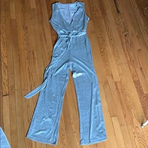 Anthro silver wide leg jumpsuit